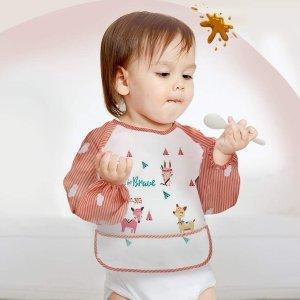 4件含税到手价$46宝宝就餐围兜 长袖带兜围裙 呢绒搭扣易穿脱 防水易清洗