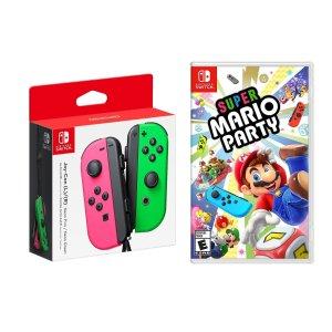 Nintendo超级马里奥派对+喷射战士粉绿配色JoyCon