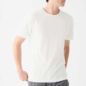 Men Organic Cotton Seamless Thick Jersey Crew Neck Short Sleeve 2 Pack T-Shirt Off White