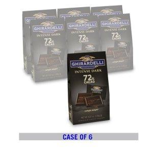 Ghirardelli满额立享7.5折72%黑巧克力方块 4.12oz. 6包