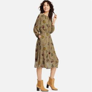 $39.9(原价$59.9)Uniqlo优衣库 印花长裙促销 米色、黑色2色可选