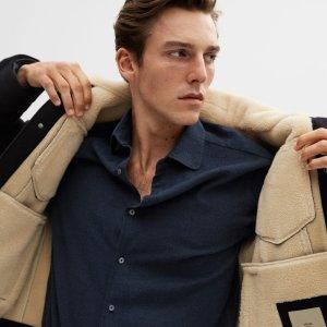 第2件5折MANGO 男士衬衫特卖 收秋冬款羊绒棉衬衫