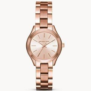 8.5折 $136.24(原价$159.9)Michael Kors Mini 玫瑰金超薄时装腕表