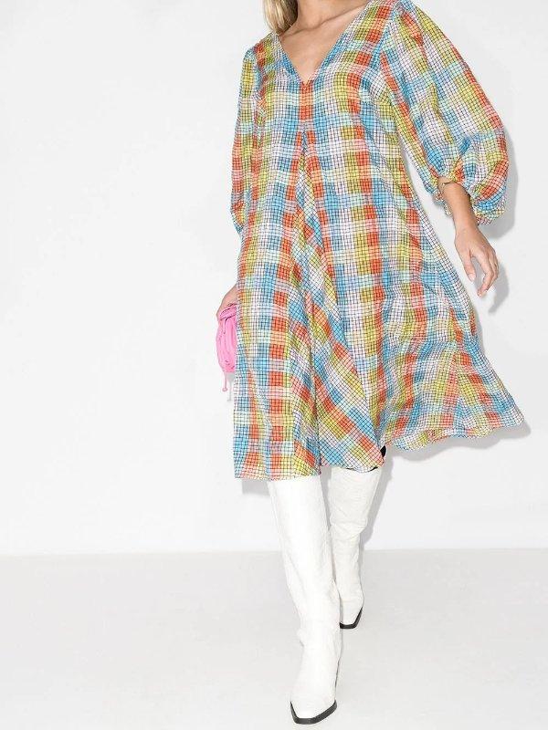泡泡纱格纹连衣裙