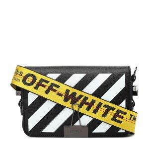 Off-White黑白黄带夹子包