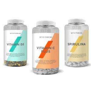 MyVitamins增强免疫力套组维生素D3+维C plus+螺旋藻