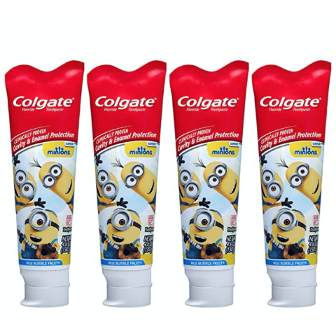Colgate Kids Toothpaste with Anticavity Fluoride Featuring Minions, Mild Bubble Fruit Gel - 4.6 ounces (4 Pack)