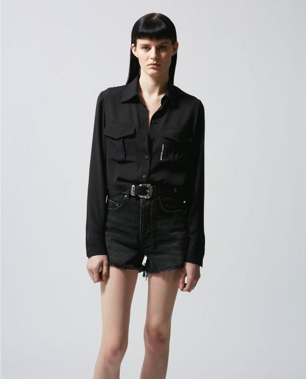 黑色衬衫(带兜)