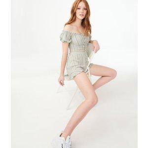 Striped Ruffle-Hem Soft Shorts