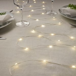 VISSVASS LED string light with 40 lights - indoor, battery operated silver color - IKEA