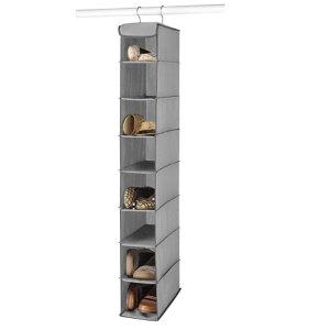 $5Whitmor Hanging Shoe Shelves - 8 Section - Closet Organizer - Grey