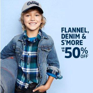 50% Off + 25% Off $50OshKosh BGosh Flannels and Plaid