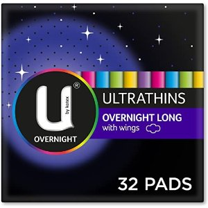 U by KotexU By Kotexltrathin Overnight Long With Wings, 32 Cont (8 x 4 Packs)