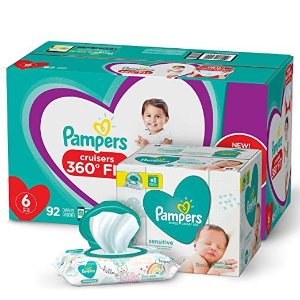Pampers$10 offDiapers Size 6 - Cruisers 360˚ Fit Disposable Baby Diapers with Stretchy Waistband, 92 Count ONE Month Supply with Baby Wipes Sensitive 6X Pop-Top Packs, 336 Count