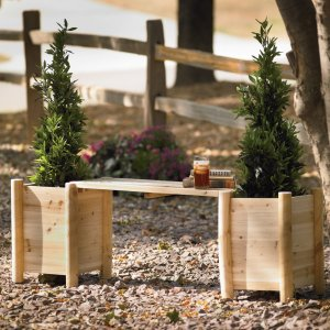 Stonegate Designs Outdoor Wooden Bench with Side Planters