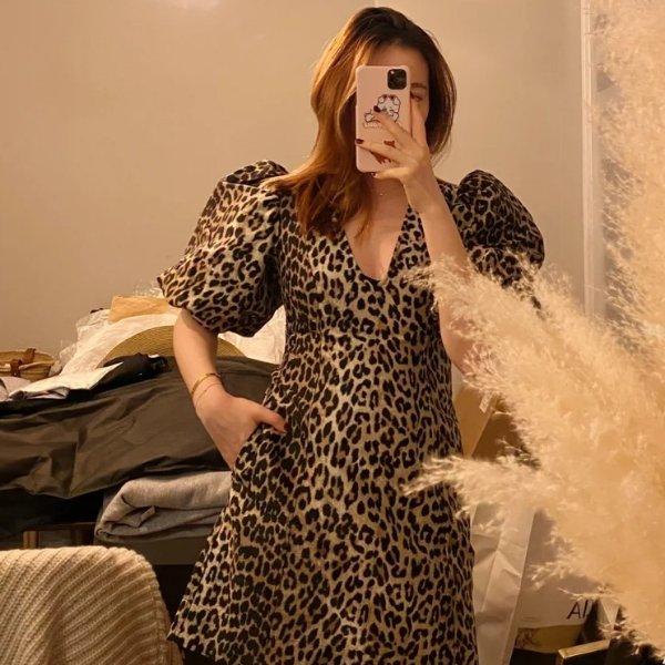 豹纹连衣裙
