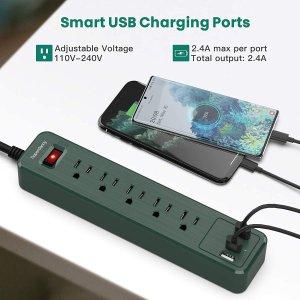 $18.69(原价$21.99)SUPERDANNY 多功能插线板 5孔排插 3个USB插孔