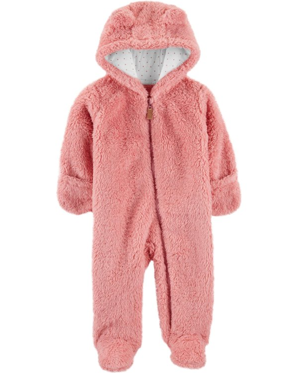 婴儿连帽羊羔绒连体衣
