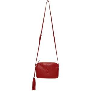 Saint Laurent- Red Medium Embossed Lou Camera Bag