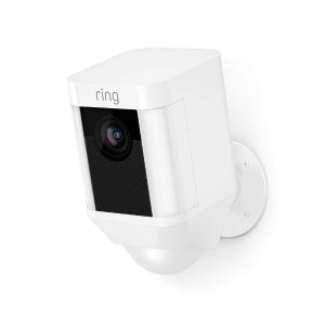 $139Prime:Ring Spotlight Cam Battery HD Security Camera with Built Two-Way Talk and a Siren Alarm, White, Works with Alexa