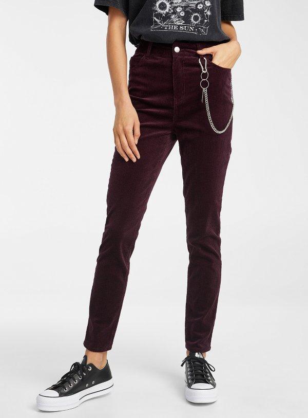 灯芯绒高腰裤