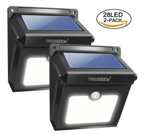 $13.99(原价$27.99)Neloodony 太阳能防水户外感应灯 2个
