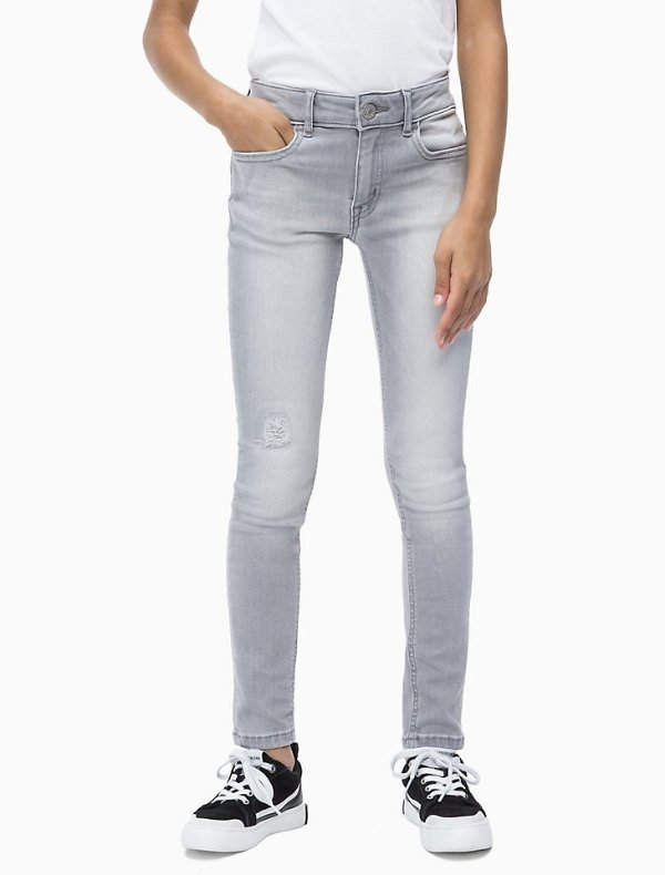 女小童中腰紧身牛仔裤