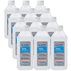 Swan 70% Isopropyl Alcohol First Aid Antiseptic, 16 Fl Oz (Pack of 12), 192 Fl Oz