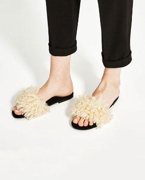 Zara毛毛拖鞋