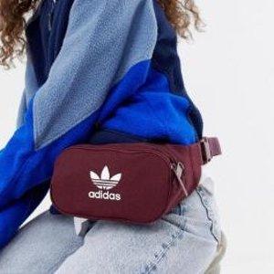 £15+包邮adidas Originals 腰包斜挎两用包 复古酒红色