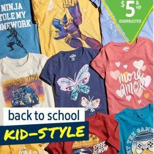 低至$5起 $10封顶OshKosh BGosh 儿童T恤、短裤、打底裤等特卖