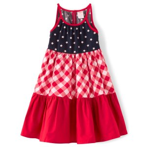 GymboreeGirls Sleeveless Star And Gingham Print Poplin Tiered Dres