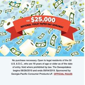 Win $25000 BonusesEnding Soon: National Toilet Paper Day