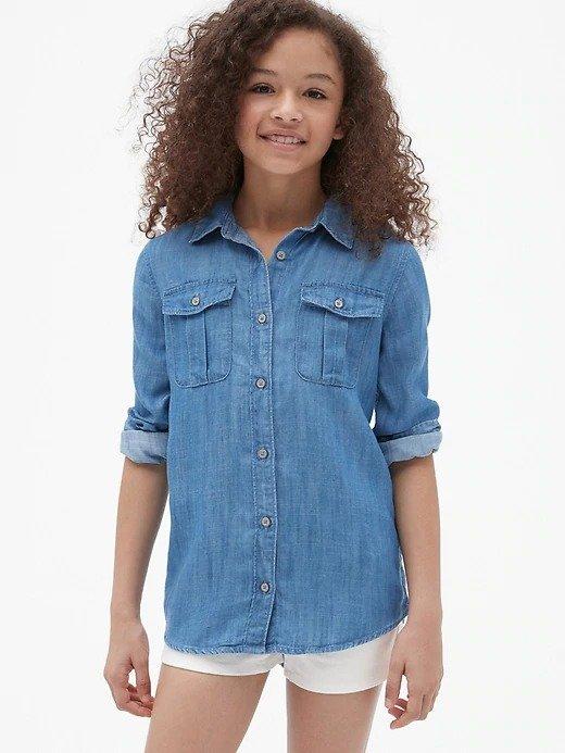 女童牛仔衬衣