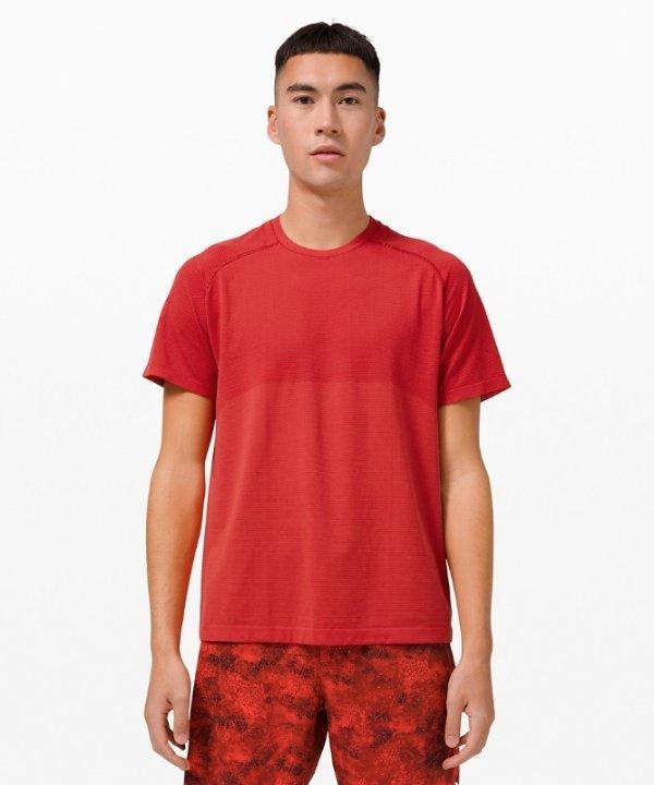 男士红色运动短袖