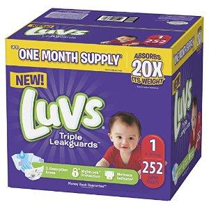 额外5折 相当于$0.1/片Luvs Ultra Leakguards 婴儿纸尿布1-6号