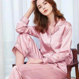 THXSILK热卖款  22姆米 3色选长袖长裤真丝睡衣 女款