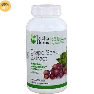 仅 $4.86美白圣品LuckyVitamin 葡萄籽精华300 mg (60 粒)