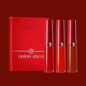 8.5折+额外送My Way香水15ml补货:Armani阿玛尼 烟盒唇釉3件套 $25收405烂番茄色