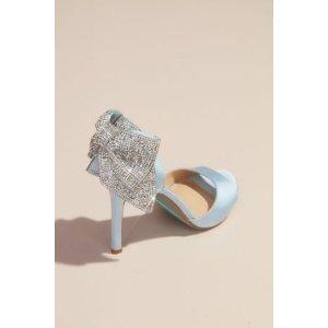 Davids BridalBuy 1 Get 1 50% OffSatin Peep Toe Stiletto Pumps with Sequin Bow