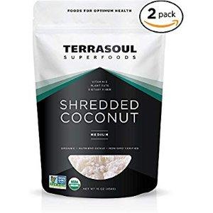 $14.99 超级食物 4.6星高分产品Terrasoul 烹饪用无糖有机椰丝 2包装 共2磅