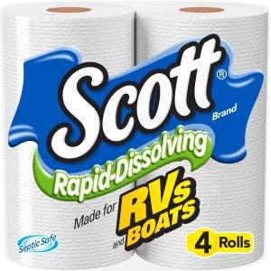 $4.97 补货Scott 卫生纸 4卷 快速分解不堵塞