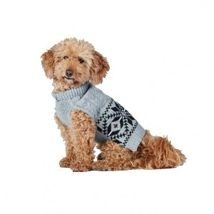 Bond & Co Fair Isle Cable Knit Dog Sweater Grey