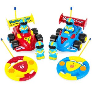 Set of 2 Kids Remote Control Racing Car RC Toys w/ Action Figures