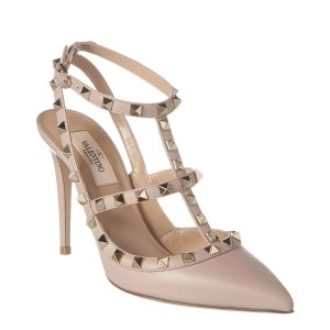 ValentinoValentino Rockstud Caged 100 Leather Ankle Strap Pump