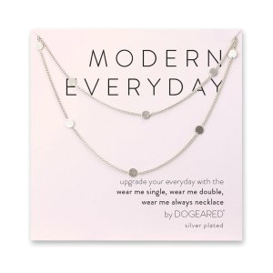 Dogearedmodern everyday long multi-circle chain necklace, sterling silver