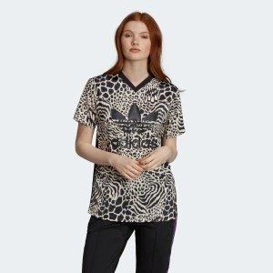 豹纹印花短袖T恤