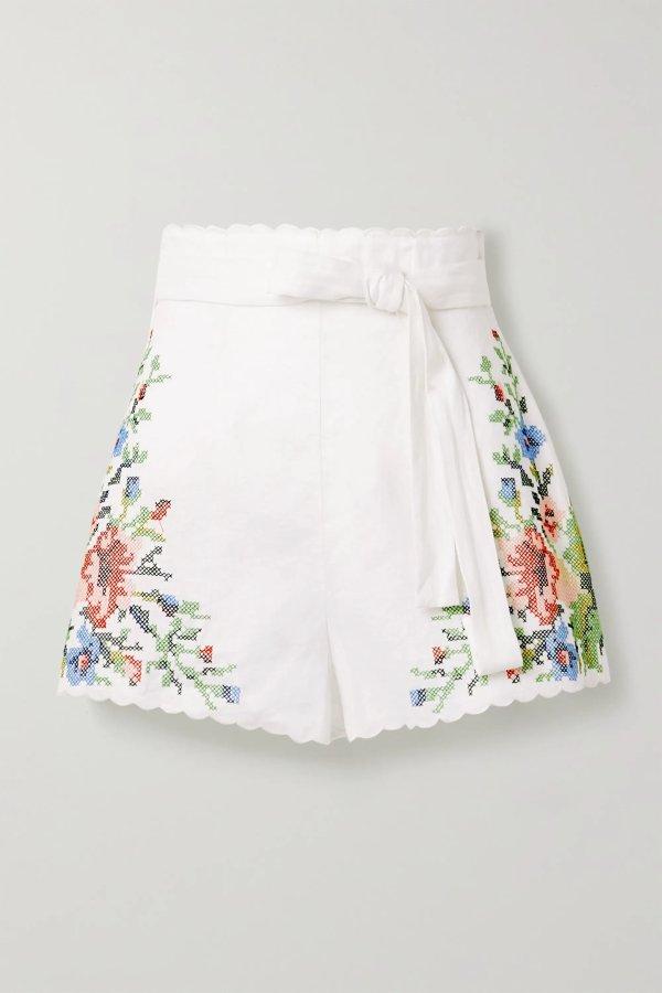 Juliette belted 花朵刺绣短裤