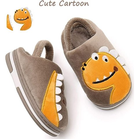 Apakowa Kids Boys Girls Comfort Cute Animal Slippers Warm Non Slip Indoor Shoes