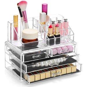 仅€16.9 防水防潮超实用透明亚克力美妆收纳盒 分分钟get整洁桌面 含12个口红格